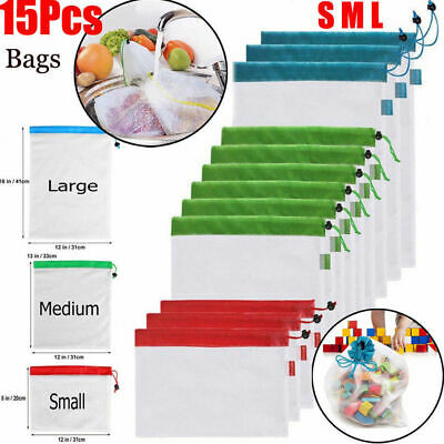 15pcs Reusable Mesh Produce Bags Fruit Vegetable Grocery Shopping Storage Eco