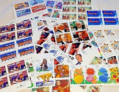 Unused 90 of Multiples & Strips & Singles 32¢ US PS Stamps. Face Value $28.80