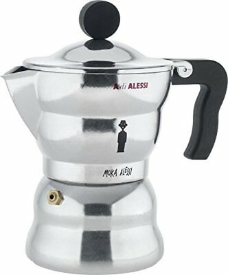 Alessi 3-Cup Moka Espresso Coffee Maker with Thermoplastic Resin Handle and Knob