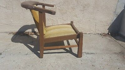 Vintage Antique Mid Century Traditional Wood Lounge Guest Lounger Deck Chair