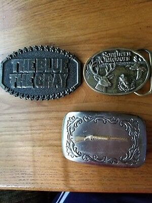 Lot 3 Belt Buckles Mens Rifle Blue&Gray Southern Outdoors 1980's Collectable