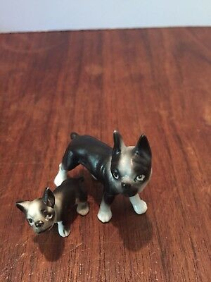 Collectible Vintage Bone China Miniature Dog Figurine Boston Terrier And Puppy