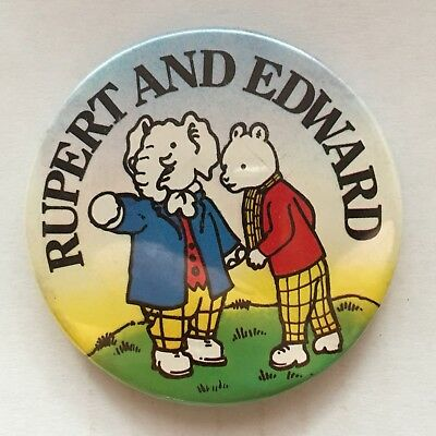 Daily Express Rupert Character With Edward Trunk Pin Badge (see pics) 1975