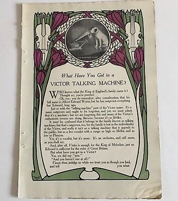 1906 Victor Victrola Talking Machine Print Ad Colored Multiple Pages Caruso Orig