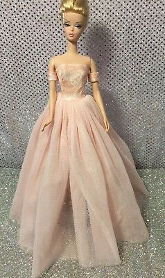 Pink Peach Lace Barbie Ball Gown Dress Fits Fashion Royalty & Silkstone
