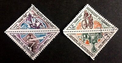 2 wonderful old pairs triangle stamps Dahomey