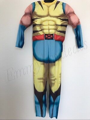 Kids Boys Muscle Chest Wolverine Halloween Costume Large 8-10 Yrs  jumpsuit mask
