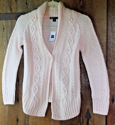 NEW GAP KIDS GIRLS M 8 LIGHT PINK CABLE KNIT CARDIGAN SWEATER Jacket Button NWT