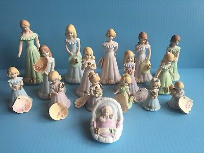 ENESCO BIRTHDAY GROWING UP GIRLS Baby -15 YEARS OLD. 16 Figurines With Hang Tags