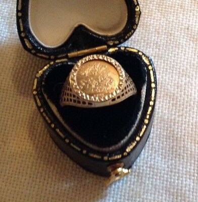 Vintage 9 Carat Gold St George & Dragon Coin Ring