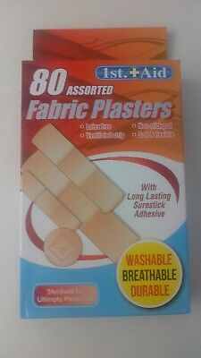 80 Fabric plasters. Assorted, pack of 4 sizes. Like bandaid. Latex free, sterile