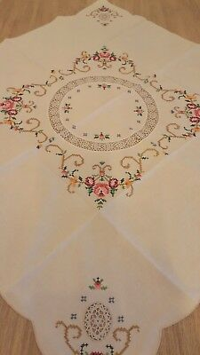 Vintage Cross Stitch Embroidered Crochet Table Linen Tablecloth Square 31.5x31.5