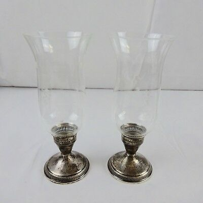 """Pair of Duchin Creation Sterling Silver and Etched Glass Candle Holders 9"""" tall"""