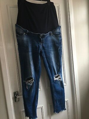 Mothercare Size 20 Ankle Grazer Ripped Skinny Jeans Over Or Under Bump
