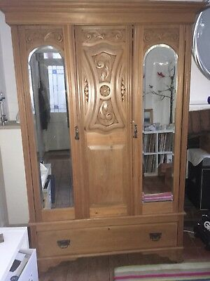 Large Victorian Pine Wardrobe With Mirrors