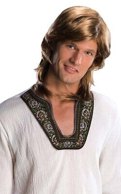 70s GUY WIG MIXED BLONDE DISCO HIPPY MULLET FANCY DRESS COSTUME ACCESSORY