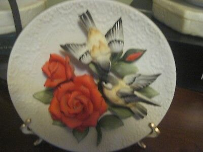 Franklin Mint Capodimonte Plate Chickadees and Roses with COA