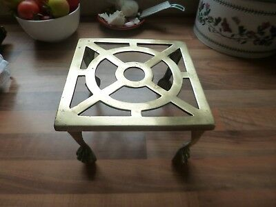 Antique Solid Brass Victorian or Edwardian Trivet Stand with Ball and Claw Feet