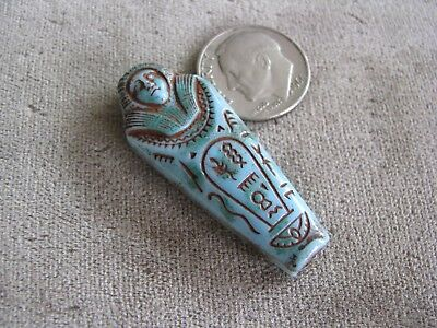 Vintage Czech Egyptian Revival Art Deco Glass Mummy Bead Pendant Robins Egg Blue