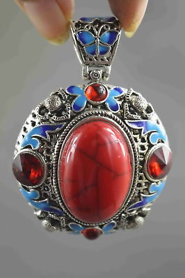 Collectable Chinese Style Miao Silver Inlay Turquoise Carve Flower Royal Pendant