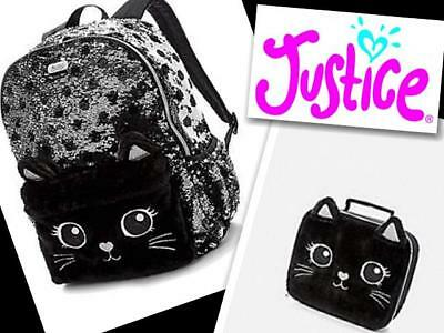 NWT Justice Girls Black Cat Lunch Tote Lunchbox