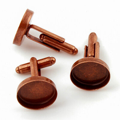 17mm Aged Copper Cufflink Setting Blanks Fits 16mm Cabochon