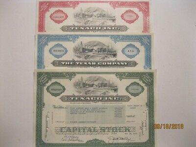 Lot Of 3 Stock Certificates- Texaco Inc. 3 Different Colors