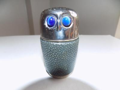Art Deco 30's Shagreen Cased OWL With Glass Eyes Set Of 4 Hunting Drinking Cups