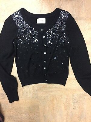 Girls Justice Cardigan Sweater, Black With Sequence, Size 14