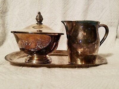 Paul Revere Reproduction  Silver-plated Cream and Sugar with Tray Vintage