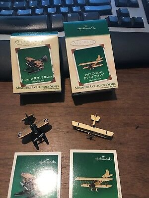 Set of 2 Hallmark Miniature Ornaments Curtiss JN-4D Jenny & R3C-2 Racer NIB