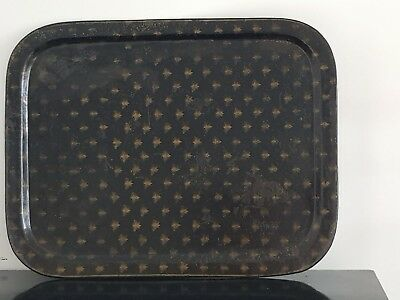 Antique French empire 19th century lacquered tin tray