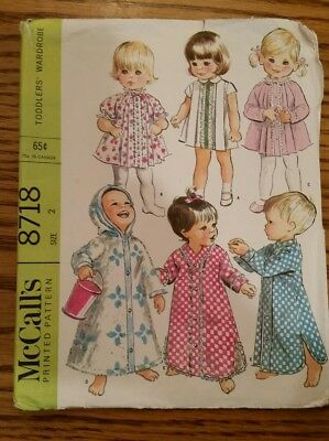 Vintage McCall's Pattern 8718,  Toddler Dress & Nightshirt, size 2