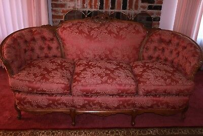 French Antique Style Sofa Circa 1930's French Damask Fabric Must See