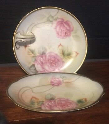2 Antique Erdmann schlegelmilch Thurinia Hand Painted Roses Nappy & Bowl