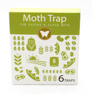 Clothes and Pantry Moth Traps Hybridized Natural Pheromone Safe Non-Toxic 6 Pack