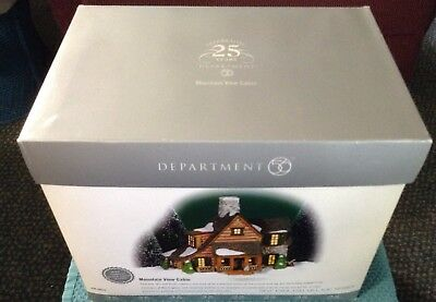 New England Village Series Dept 56 Mountain View Cabin 25th Anniversary New