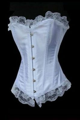 Ladies Womens White Corset Basque With Lace Size 2XL Approx Uk 16