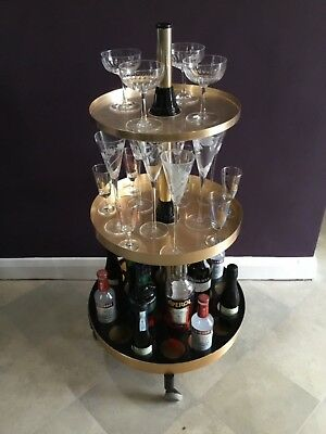 Rare Vintage 1960's circular and adjustable drinks trolley
