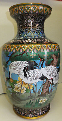 Very Large Chinese Cloisonne enamel on brass vase Chinoisserie Cranes Peonies
