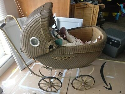 Antique Vintage Wicker Baby Carriage,  baby buggy/carriage from the 1900's