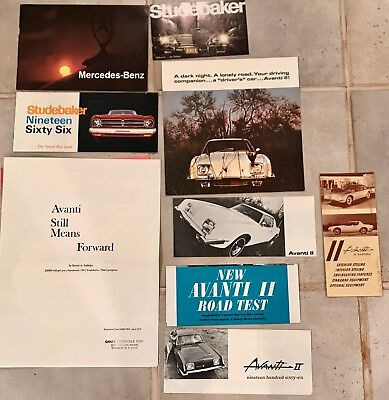 Vintage Lot of 9 Avanti Studebaker Benz 1960's Pamphlets Brochures Firebird