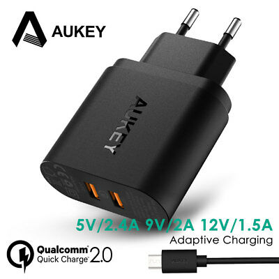 AUKEY 36W Dual Port Quick Charge 2.0 USB Fast Charger for Phone iPhone Samsung