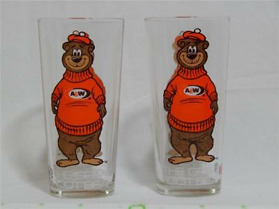 """Vintage A & W Root Beer Bear Tumblers 16 Ounce 6 1/2"""" Tall ~ Thick Glass 1970's"""