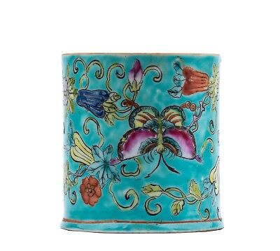 A Vintage Chinese Turquoise Ground Butterfly Decorated Guangxu Marked Brush Pot