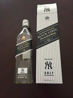 JOHNNIE WALKER Black Label YANKEES 2017 LIMITED EDITION (Empty bottle and box)