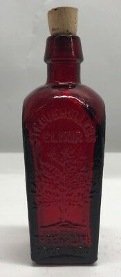 "Miniature 3"" RED Wheaton Straubmuller's Elixir Tree of Life Bottle Since 1880"