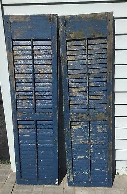 OMG PAIR Old ARCHITECTURAL BLUE SHUTTERS  Chippy Bright blue Patina  17.5 X 63.5
