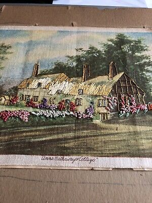Rare Antique Hand Made Silk Embroidery Ann Hathaways Cottage