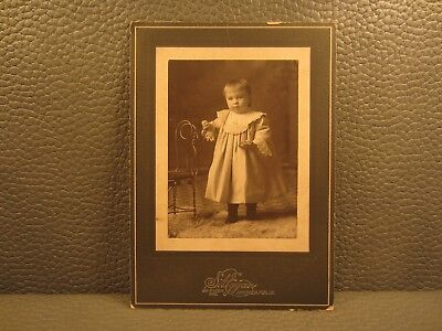 Victorian Antique Cabinet Card Photo of Young Infant, Kid, Child